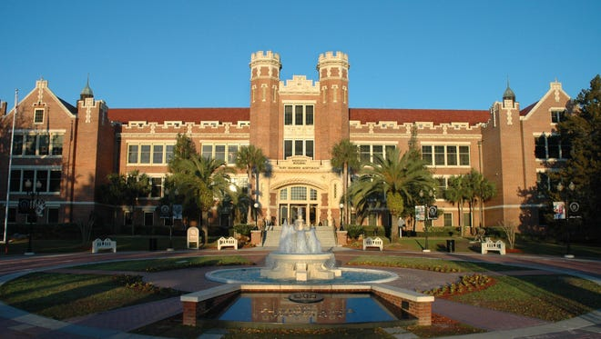 The iconic Westcott Hall at Florida State University sits at the western end of College Avenue.