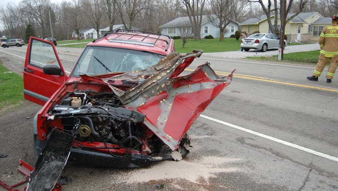 A Hartford City man's SUV was damaged Thursday when its driver fell asleep, crossed the center line on Ind. 18 and struck a semi, Sheriff Jeff Sones said.
