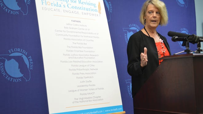 Carol Weissert, director of the LeRoy Collins Institute promotes a Constitution Revision Commission symposium Tuesday.