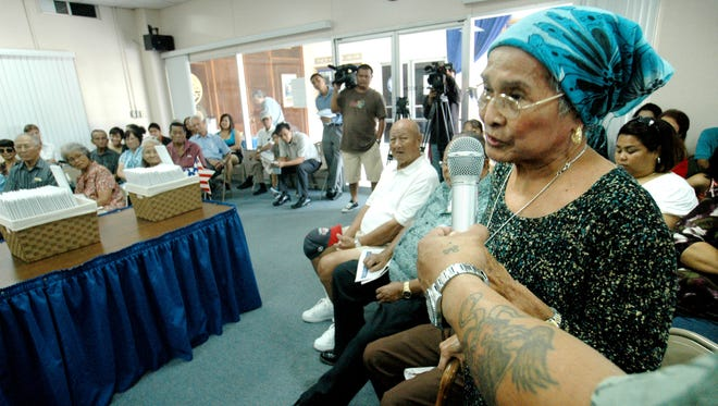 In this file photo, residents testify on war reparations for Chamorros who suffered through the brutal occupations by the Japanese in World War II. Next Friday, Independent Guahan will help residents fill out application forms for war reparations.