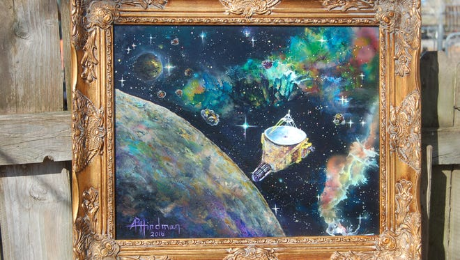 "Acrylic Painting by Alision Hindman: ""Into the Kuiper Belt and New Horizons"""