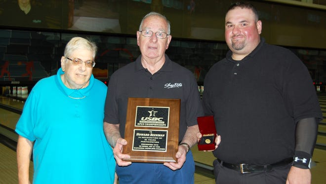 Howard Beekman of Gillette and Joseph Leiser of Gainesville, Georgia, found themselves in the spotlight at Center Aisle this week as the final two bowlers to enter the 50-Year Club at the 2016 United States Bowling Congress Open Championships.