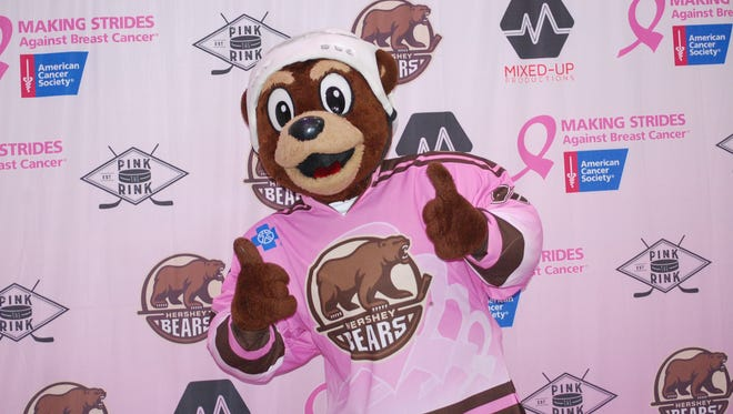 Hershey Bears mascot Coco got in the act to help the Pink The Rink initiative to fight breast cancer.