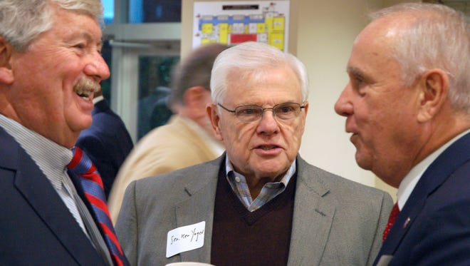 A proposal from state Sen. Ken Yager, R-Kingston, center, to double the number of audits of campaign finance reports was approved Tuesday by a Senate committee.