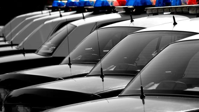 Row of police cars