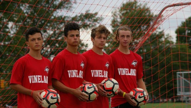 Cameron Stahl (left to right), Bobby Labriola, Ryan Cleveland and Lucas Portadin are expected to lead the way for the Vineland boys' soccer team this season..