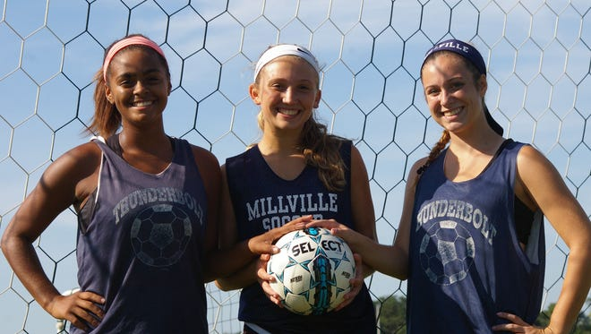 Jaida Brown, Morgan Giordano and Sydney Williams will lead a young Millville team into action this fall.