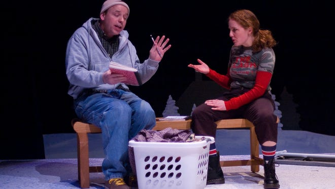 """Michael Irvin Pollard (left) and Janice Kildea enact a scene from """"Almost, Maine,"""" from a 2008 production of the comedy at the Bickford Theatre.  Pollard will perform in a different scene from the same play as part of """"Banned Together: A Censorship Cabaret,"""" a revue of scenes and songs from plays and musicals that have been the subject of controversy.  The production will be presented on Thursday, September 28, at Short Stories Bookshop and Community Hub in Madison."""