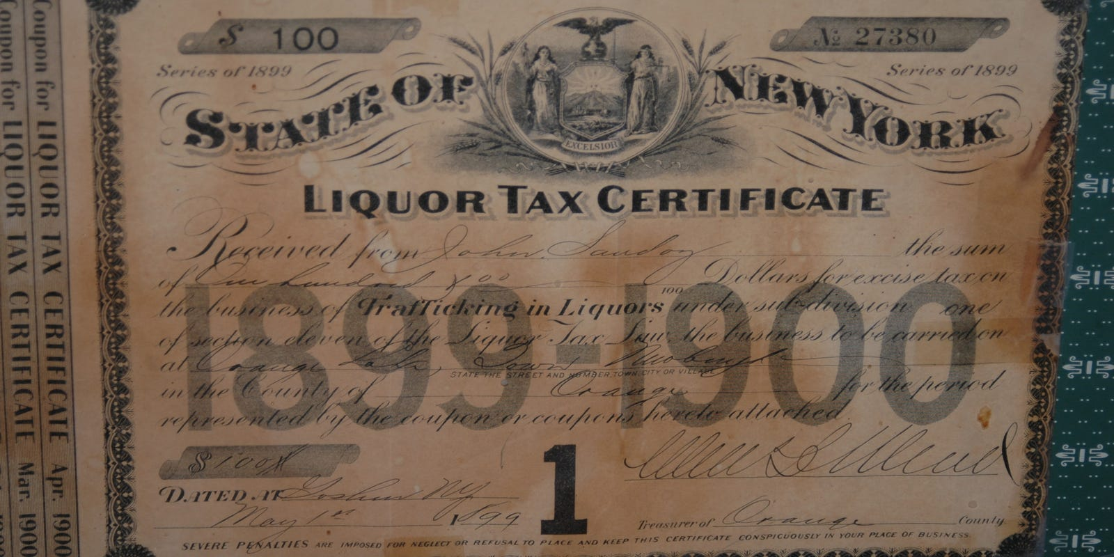 Lake View House In The Town Of Newburgh Has Distinction Of Being Issued First Liquor License In Orange County