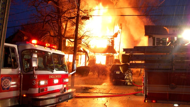 An early-morning fire destroyed a home on Sherman Avenue in Teaneck on Sunday, Jan. 28, 2018.