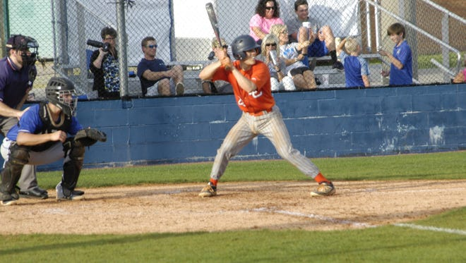 Travis Potter prepares to face a pitch at bat last season.