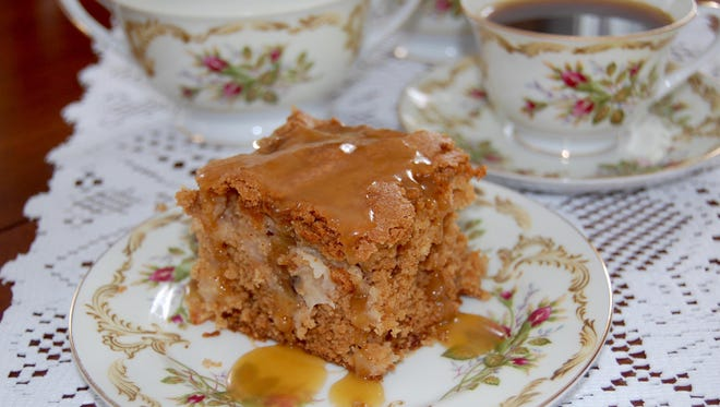 Rich apple cake with caramel topping.
