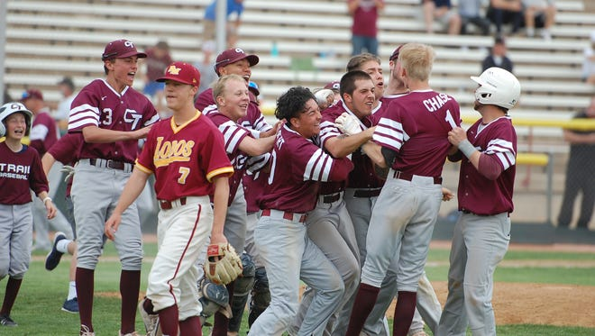 Cherokee Trail celebrates an 8-7 walk-off win over Rocky Mountain to open the 5A state baseball tournament.