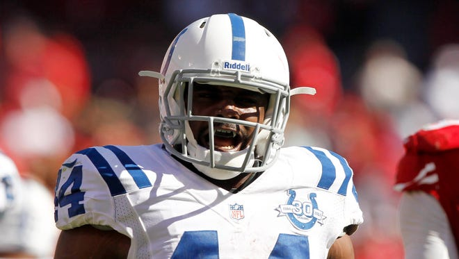 Indianapolis Colts running back Ahmad Bradshaw has 186 yards rushing and two touchdowns this season.