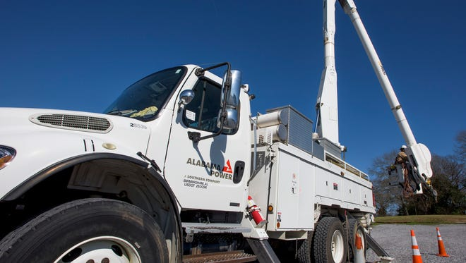 Alabama Power has a bucket truck on hand as MPACT announces that it is joining with Alabama Power to offer training at the school in Montgomery, Ala. on Wednesday February 17, 2016.