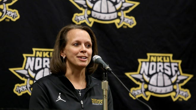 Dawn Plitzuweit, NKU women's basketball coach, speaks to the media.
