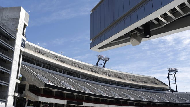 A locked up and empty Sanford Stadium on the campus of the University of Georgia which would have hosted the  annual Spring football game today on Saturday, April 18, 2020. The Spring game and all University athletics are on hold during the COVID-19 pandemic.