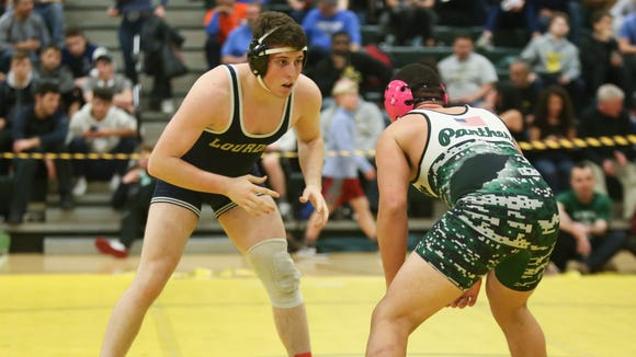 Lourdes' Lucca Ardovini-Booker defeats Pleasantville's Jaden Kammer in the 182-pound match at the Section 1, Division 2 Wrestling finals at Hasting High School in Hastings on Hudson on Saturday, February 10, 2018.