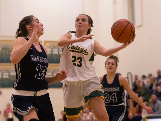 Red Bank Catholic's Hayley Moore goes up with shot