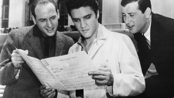 Elvis, with songwriters Mike Stoller, left, and Jerry