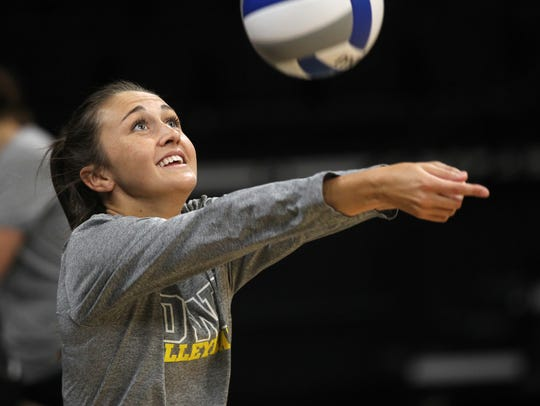 Iowa's Ashley Smith warms up during practice at Carver-Hawkeye