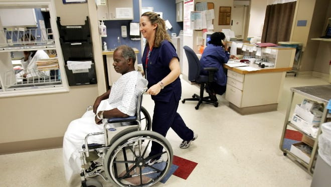Nurses at work at the Touro Infirmary in New Orleans, La., in 2005.