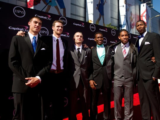FGCU's Dunk City members at the ESPY's where they won the Biggest Upset Award in 2013.