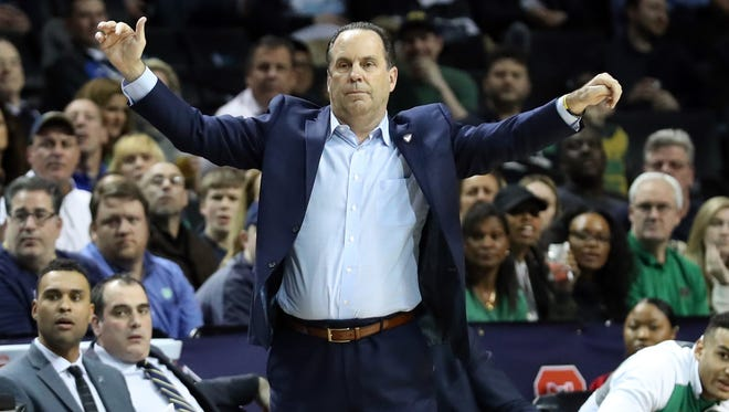 Mar 10, 2017; Brooklyn, NY, USA; Notre Dame Fighting Irish head coach Mike Brey gestures during the second half against the Florida State Seminoles during the ACC Conference Tournament at Barclays Center. Notre Dame Fighting Irish won 77-73. Mandatory Credit: Anthony Gruppuso-USA TODAY Sports