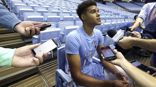 North Carolina's Cameron Johnson speaks with reporters during the school's media day Tuesday in Chapel Hill.