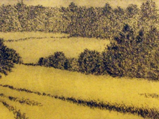 "This etching, ""South Pasture,"" depicts the view from artist Anne Finucane's Chambersburg home. The Drawing Room, Gettysburg, will give away the work to a lucky winner on Oct. 31."