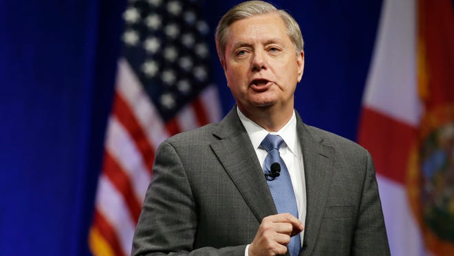 Sen. Lindsey Graham, R-S.C., shown in a 2015 file photo from Orlando, said Dec. 23, 2016, that he will work to pull congressional funding for the United Nations if its Security Council does not repeal a resolution condemning Israeli settlements as illegal.