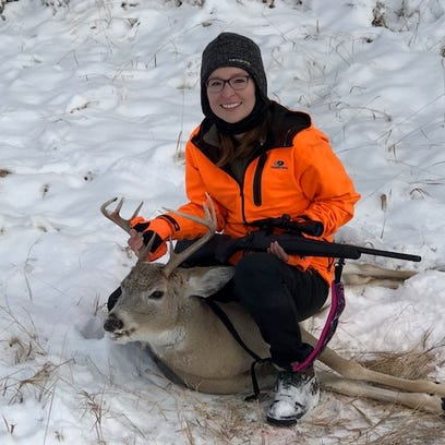 Marlena Azure got this white-tailed deer on her first