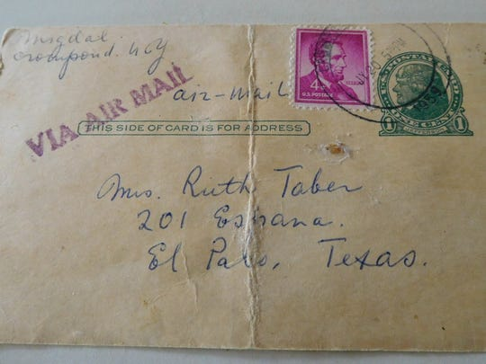 The 1958 postcard from Ruth Taber's mom features her pickle recipe. It cost five cents for air mail. There were no zip codes in those days.