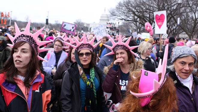 Marchers from Westchester County, N.Y., are pictured at the Women's March on Washington earlier this year