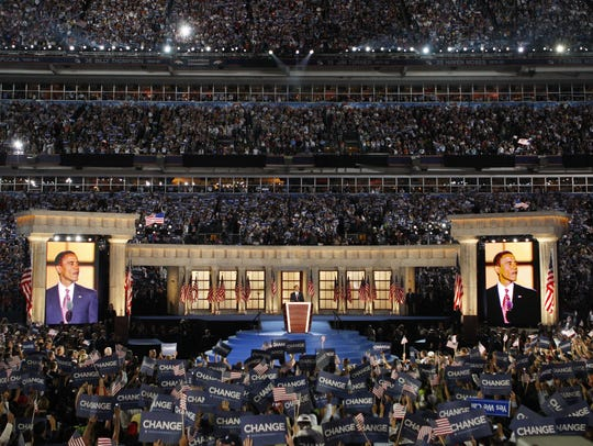 Democratic presidential nominee Barack Obama gives