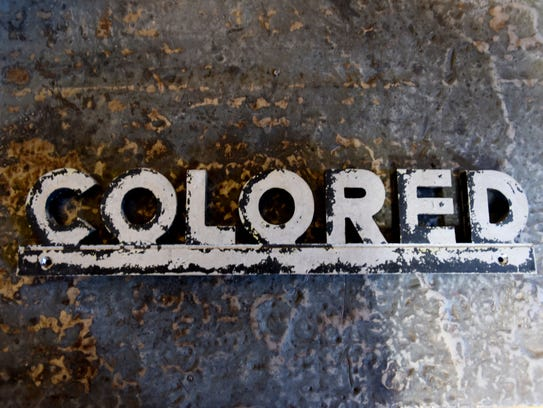 Ray Stevenson acquired this 'colored' bathroom sign that hung at an old service station in Stonewall.