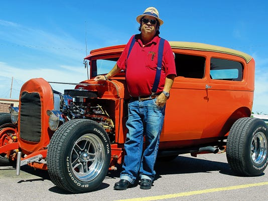 Alamogordo Golden Gears Event Coordinator Jack Harris poses with his 1928 modified Ford. Harris' car, among others from the Golden Gears, will be featured at a free car show Saturday between 10 a.m. and 2 p.m. at Desert Sun Motors, 2600 White Sands Blvd.