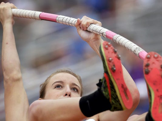 Emory Rains' Charlotte Brown, who is legally blind, competes in the Conference 4A girls pole vault competition at the UIL Texas State Track and Field Championships on Saturday in Austin, Texas. Brown won a Bronze medal with her third place finish.