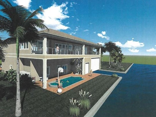 Another rendering of the proposed cut-in nautical garage.