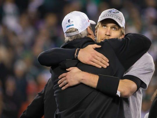 Nick Foles hugs Doug Pederson as the Philadelphia Eagles
