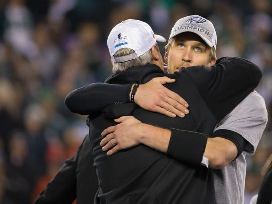 Nick Foles hugs Doug Pederson as the Philadelphia Eagles