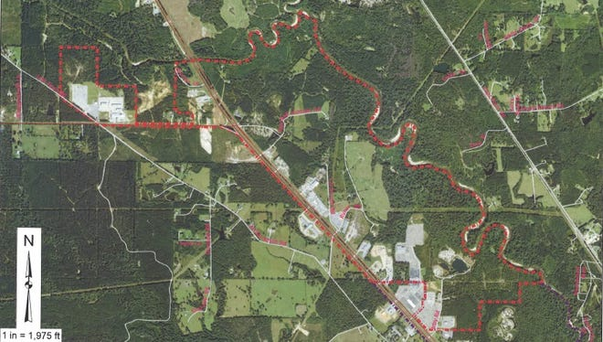 The area of U.S. 49, including parts of Rawls Springs, that would be taken under Hattiesburg's proposed annexation.