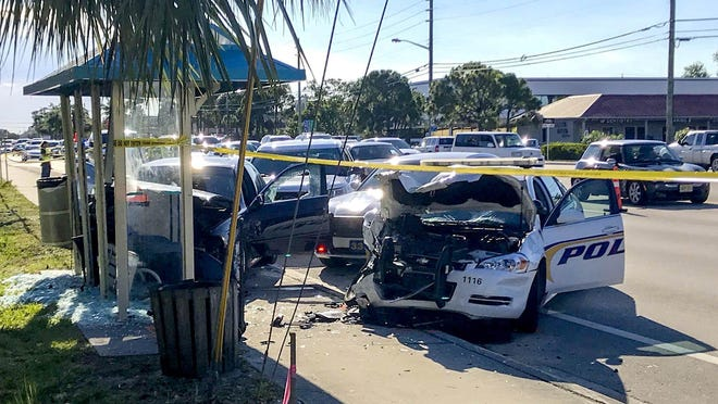 This Tuesday, May 21, 2019, crash on Indiantown Road in Jupiter led to a grievance filed with the Palm Beach County Office of the Inspector General by Jupiter police Sgt. Peter Tremblay. Authorities arrested Marc Anthony Brown of Riviera Beach, the driver of the black BMW, after the crash. Tremblay, who retired in October 2019, said Jupiter police were at fault in the crash and that Brown may have been wrongly put in jail.
