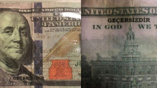 "The Sandusky Police Department is warning people to be alert for bad $100 bills bearing the word ""gecersizdir."""