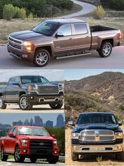 Pickup trucks like the Chevrolet Silverado, top,  the GMC Sierra, center left, and the Ram 1500, right, are grabbing market share from Ford, which is retooling for the all-new 2015 Ford F-150, lower left.