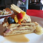 French toast pudding with fresh summer fruit, banana puree, vanilla custard and maple syrup was a recent Sunday brunch feature at the Menagerie pop-up restaurant in downtown Pontiac.