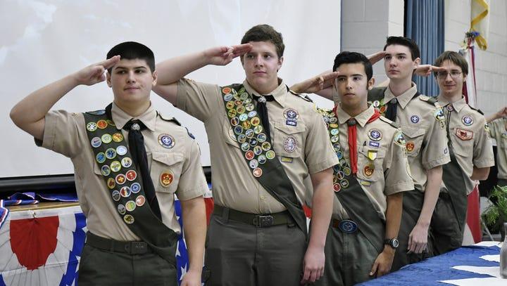 From left: Eagle Scouts Aiden Fierro, Nick Mavis, Justin