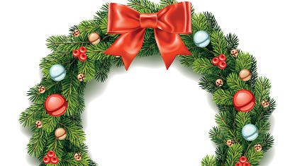 Detailed Christmas wreath with bow