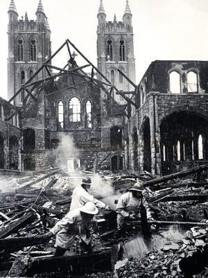 An early morning fire in November 1975 devastated Topeka's Grace Episcopal Cathedral.