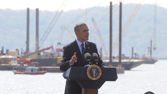 President Barack Obama speaks at the Tappan Zee Bridge site Wednesday, May 14.